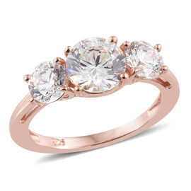 J Francis - Rose Gold Overlay Sterling Silver (Rnd) Three Stone Ring Made With SWAROVSKI ZIRCONIA
