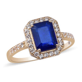 9K Yellow Gold Tanzanian Blue Spinel and Natural Cambodian Zircon Ring 3.600 Ct.