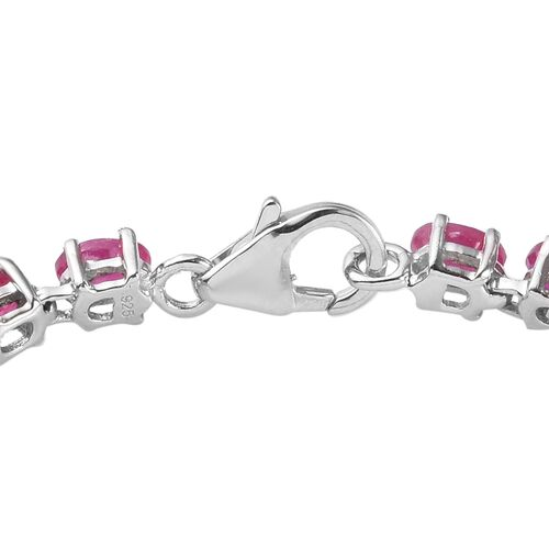 AA African Ruby Bracelet (Size 7.5) in Platinum Overlay Sterling Silver 11.98 Ct, Silver wt 6.50 Gms