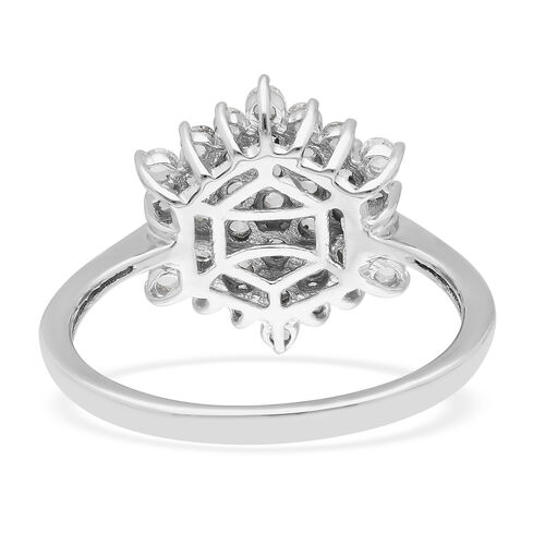 14K White Gold SGL Certified Natural Diamond (I1/G-H) Cluster Ring 1.00 Ct.