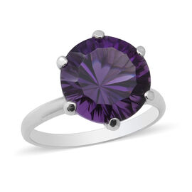 Lusaka Amethyst Solitaire Ring in Rhodium Overlay Sterling Silver 5.80 Ct.