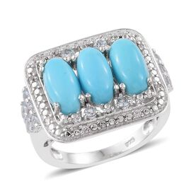 4.25 Ct Sleeping Beauty Turquoise and Multi Gemstone Trilogy Design Ring in Platinum Plated Silver