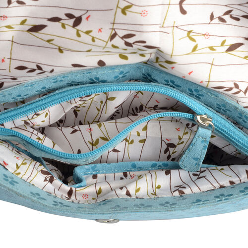 LIMITED STOCK 100% Genuine Leather RFID Blocker Floral Pattern Blue Colour Sling Bag with External Zipper Pocket and Adjustable Shoulder Strap (Size 25X19X7 Cm)