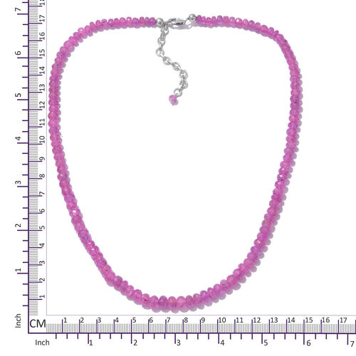 Madagascar Hot Pink Sapphire (Rnd) Beads Necklace (Size 18 with 2 Inch Extension) in Platinum Overlay Sterling Silver 136.80 Ct