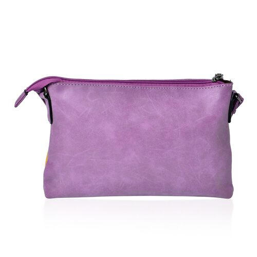 Purple Colour Crossbody Bag with Tassels and Adjustable Shoulder Strap (Size 27x18x3 Cm)