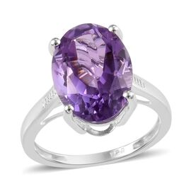 Rose De France Amethyst (Ovl 14x10 mm) Solitaire Ring in Sterling Silver 5.25 Ct.