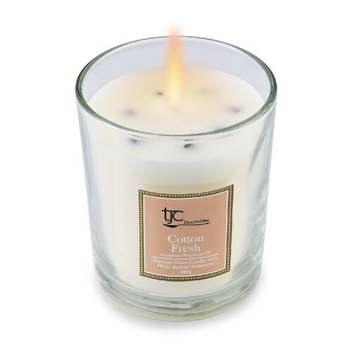 Home Decor - Fresh Cotton Flower Scented Glass Candle with Multi Spinel Carat wt 20.00 ct. (Size 8.2x8.2x9.4 Cm)