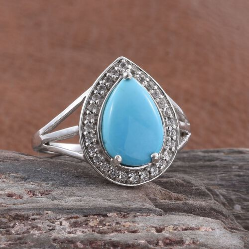 Arizona Sleeping Beauty Turquoise (Pear 3.00 Ct), White Topaz Ring in Platinum Overlay Sterling Silver 3.250 Ct.