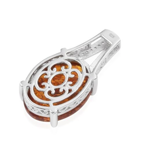 Baltic Amber (Ovl), Natural Cambodian Zircon Pendant in Platinum Overlay Sterling Silver 6.500 Ct.