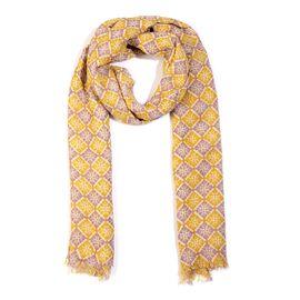 100% Merino Wool Geometric Pattern Scarf (Size 70x180 Cm) - Multicolour
