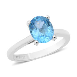 Swiss Blue Topaz (Ovl 10x8 mm), Natural White Cambodian Zircon Ring (Size T) in Two Tone Overlay Sterling Sil