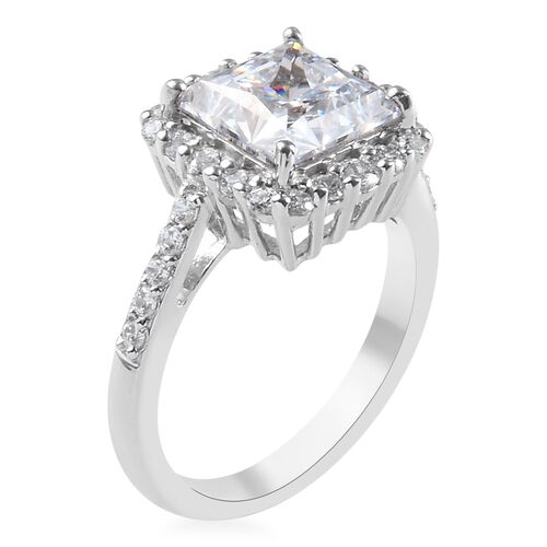 J Francis - Platinum Overlay Sterling Silver (Sqr and Rnd) Ring Made with SWAROVSKI ZIRCONIA 5.84 Ct.