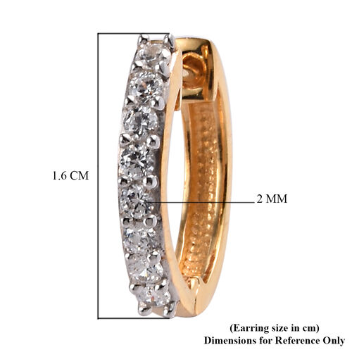 J Francis 14K Gold Overlay Sterling Silver Hoop Earrings (with Clasp)  Made with SWAROVSKI ZIRCONIA 0.98 Ct.
