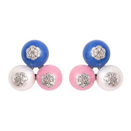 GP 17.62 Ct Freshwater Pearl and Multi Gemstone Stud Earrings in Rhodium Plated Sterling Silver