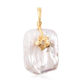 Baroque Pearl and Diamond Floral Pendant in Yellow Gold Overlay Sterling Silver