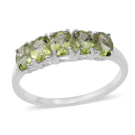 Hebei Peridot (Ovl) Five Stone Ring in Rhodium Overlay Sterling Silver 2.000 Ct.