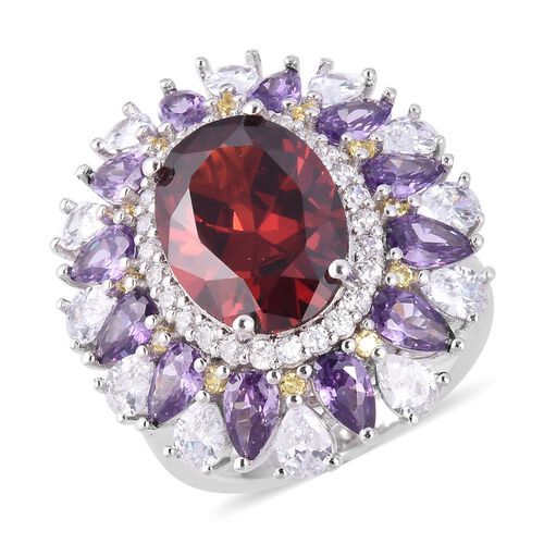 Lustro Stella Simulated Red Garnet and Multi Gemstone Halo Floral Ring in Rhodium Plated Silver