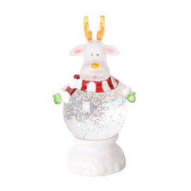 Deer with White and Red Stripped Scaraf LED Light (Size 24x12 Cm)