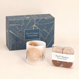 Close Out Deal Ginger and Orange Fragrance Candle Cup with 4 Small Candle - Yellow
