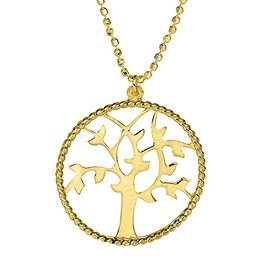 14K Gold Overlay Sterling Silver Tree of Life Necklace (Size 18)