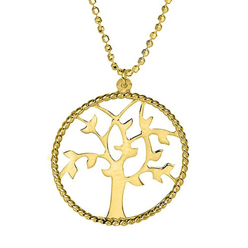 Tree of Life Necklace in Gold Plated Sterling Silver 18 Inch