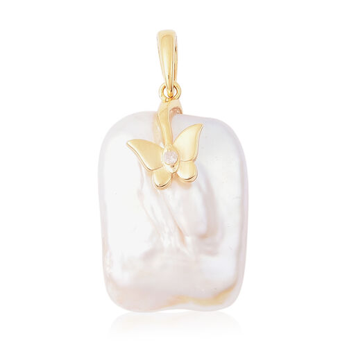Baroque Pearl and Diamond Butterfly Pendant in Yellow Gold Overlay Sterling Silver