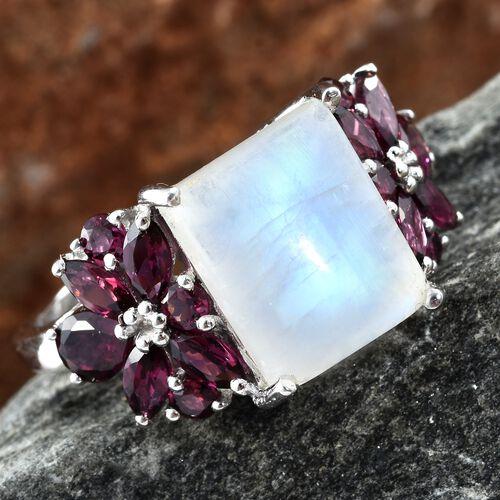 Rainbow Moonstone (Bgt 7.45 Ct), Rhodolite Garnet Floral Ring in Platinum Overlay Sterling Silver 10.500 Ct.
