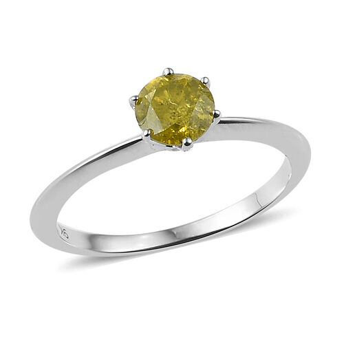 9K White Gold SGL Certified Canary Yellow Diamond (I3) (Rnd 5.4mm) Ring 0.60 Ct.