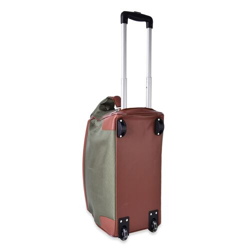 Water Resistant Army Green Travel Trolley With Wheels and Adjustable Handle (Size 50x35x25 Cm)