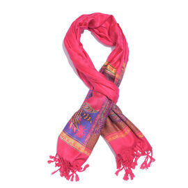 Pink, Blue and Multi Colour Floral and Leaves Pattern Scarf with Tassels (Size 190X70 Cm)
