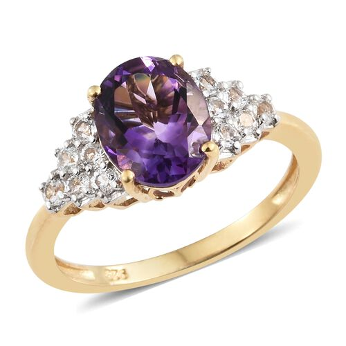 Moroccan Amethyst (Ovl 2.35 Ct), White Topaz Ring in 14K Gold Overlay Sterling Silver 3.000 Ct.