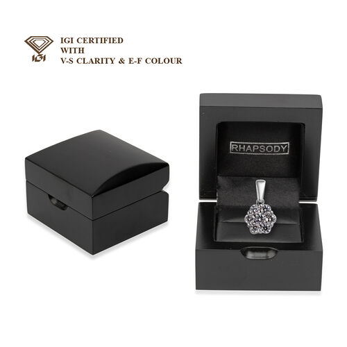 RHAPSODY 950 Platinum IGI Certified Diamond (VS/E-F) Floral Cluster Pendant 1.00 Ct.