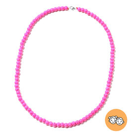 Fuchsia Howlite Beads Necklace (Size 20) in Rhodium Overlay Sterling Silver with Lobster Lock 122.50