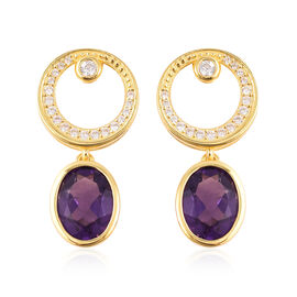 Isabella Liu Twilight 4.52 Ct Lusaka Amethyst and Zircon Drop Earrings in Gold Plated Silver