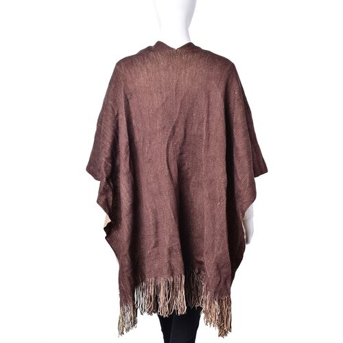One Time Deal-Chocolate and Brown Colour Reversible Poncho with Tassels (Free Size)