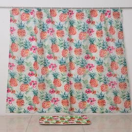 Multi Colour Flowers and Pineapple Printed Curtain with Bathmat 180x180 60x40 Cm