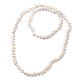 One Time Deal- High Lustre Fresh Water White Pearl Necklace (Size 36)