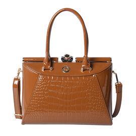 BOUTIQUE COLLECTION Croc Pattern Satchel Bag with Detachable and Adjustable Shoulder Strap (Size 30x