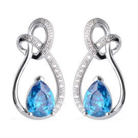 ELANZA Simulated Blue Topaz and Simulated Diamond Classic Earrings in Rhodium Plated Silver