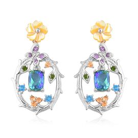 Jardin Collection - Peacock Quartz (Cush), Yellow Mother of Pearl and Multi Gemstone Earrings (with