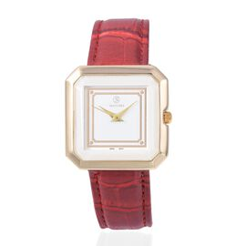 STRADA Japanese Movement Water Resistant Watch with Wine Red Strap