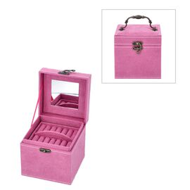 3 Layer Velvet Jewellery Box with Inside Mirror and Vintage Handle (Size 12x12x12 Cm) - Rose Red