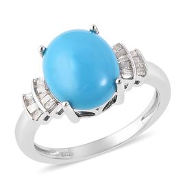 Arizona Sleeping Beauty Turquoise (Ovl 11x9mm), Natural Diamond Ring in Rhodium Overlay Sterling Sil