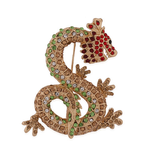 Multi Colour Austrian Crystal Dragon Brooch in Yellow Gold Tone