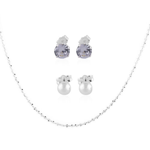 NY Close Out Deal- 3 Piece Set Simulated Diamond Earrings (with Push Back)  and Chain (Size 18) in S