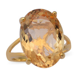 Collectors Edition- Citrine (Rare Size Ov 18x13) Solitaire Ring in Yellow Gold Overlay Sterling Silv