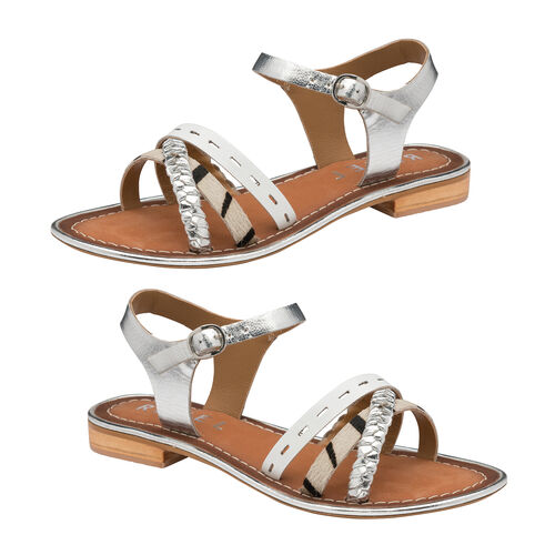 Ravel Cudal Leather Flat Sandals (Size 3) - Silver
