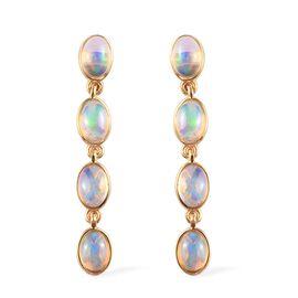 Ethiopian Welo Opal (Ovl) Dangling Earrings (with Push Back) in 14K Gold Overlay Sterling Silver 2.4