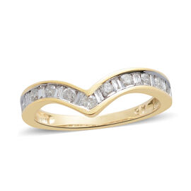 9K Yellow Gold SGL Certified Diamond (Bgt and Rnd) (I3/G-H) Wishbone Ring 0.500 Ct.