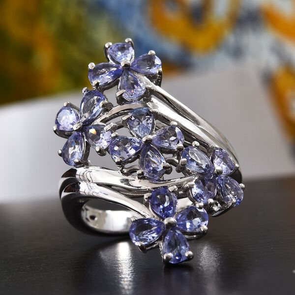 Tanzanite (Pear) Cluster Floral Crossover Ring in Platinum Overlay Sterling Silver 2.50 Ct.